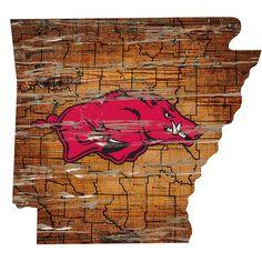 "Arkansas Razorbacks Distressed 24"" x 24"" State Wall Art, Multicolor"