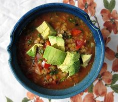 rainy day soup: red lentil mexican soup with avocado | Everybody Likes Sandwiches