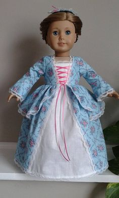 Colonial Robin Egg Blue with Pink Floral Calico Cotton Dress and Pinner Cap for AG Felicity or Elizabeth or 18 Inch Doll