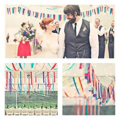 Fun ideas for how to use streamers for your wedding.