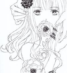 #drawing #art #anime #manga #girl #flowers