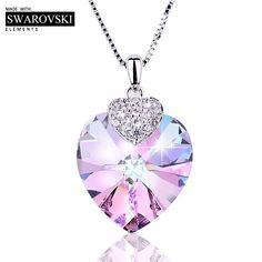 Swarovski Heart Shape Amethyst Crystal Pendant Necklace 5941d0075b68