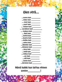 Olen yhtä... Speech Language Therapy, Speech And Language, Kids Learning Activities, Teaching Resources, Learn Finnish, Adhd Quotes, Finnish Language, Early Childhood Education, Teaching Materials