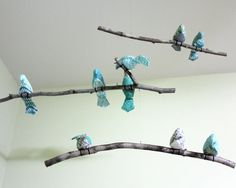 Bird Mobile-3 Tiered Bird Mobile- Aqua - White - Gray Fabric Birds - Made to order