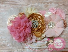 Pink/Gold maternity sash by SandraDsBoutique on Etsy