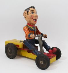 Vintage Tin Windup 1950 s Howdy Doody Pump-Mobile Pedal Car NY-Lint Toy Nylint #NYLint