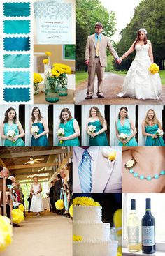 layered shades of blue with pops of yellow
