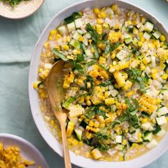 Sweet Corn & Zucchini Risotto with Basil Oil - Kitchen Treaty Vegan Risotto, Risotto Recipes, Homemade Thousand Island Dressing, Basil Oil, Tomato Sandwich, Corn On Cob, Cheese Cloth, Sweet Corn, Fresh Basil