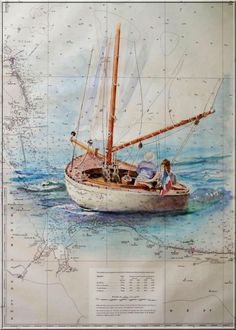 la Dame d'Avalon :: Peindre la mer Boat Illustration, Watercolour Tutorials, Marines, Sailing Ships, Paint Colors, Watercolor Paintings, Images, Photos, Sketchbooks