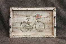 Decorative tray, Barn wood Serving Tray, Farmhouse decor, Spring FARMHOUSE table tray, Antique bike, flower bakset, distressed upcycled wood