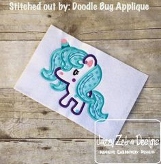 Baby Unicorn Applique Design: Jazzy Zebra Designs
