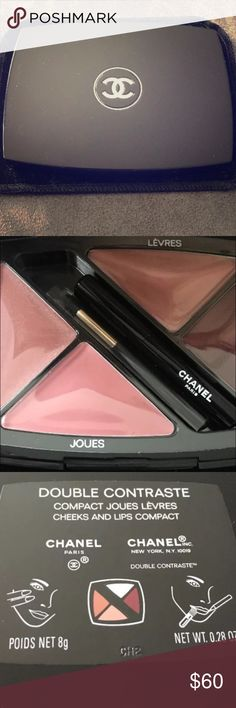 CHANEL Limited Edition Double Contraste Compacte Rare & Limited Edition, BNWOB never been touched 100% brand new. Gorgeous cheek & lip combo. Two color choices for each with a matching lip pencil & applicator brush. This compact sells for $80 retail. I bought it as a gift and ended up giving something else, and I don't wear much makeup or I would keep it for myself. Price firm. CHANEL Makeup Lip Balm & Gloss