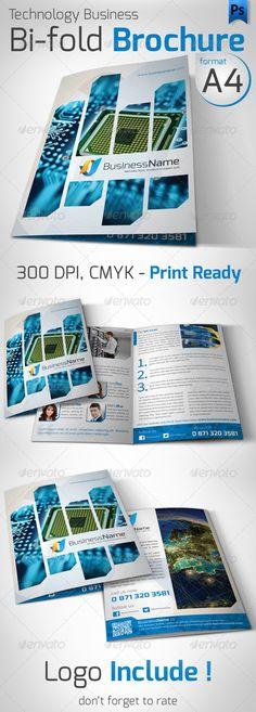 Technology Business Bi-fold A4 Flyer  —  PSD Template • Download ➝…