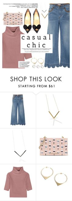 """""""casual chic"""" by punnky ❤ liked on Polyvore featuring RED Valentino, Karl Lagerfeld, Allude, Christian Louboutin and Haute Hippie"""