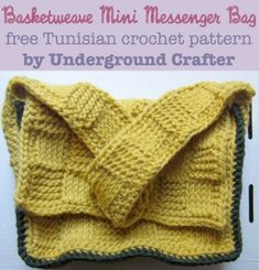 Basketweave Mini Messenger Bag, free Tunisian #crochet pattern by @ucrafter. A great unisex project!