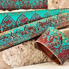 Turquoise Leather Wristband Handcrafted Jewelry Cuff door rainwheel, $29.00