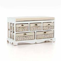 Předsíňová lavice Ruby s pěti zásuvkami ve stylu Provence.