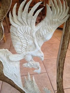 Eagle Catching Salmon Carved In Moose Antler