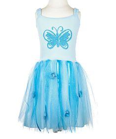 Look at this #zulilyfind! Turquoise Butterfly Glitter Tutu Dress - Toddler & Girls #zulilyfinds