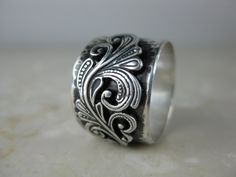 Ring Wide Silver Hammered Band with Silver by formandfunktion
