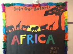 This is a bulletin board I created for our school wide international theme. We were assigned Africa. School Displays, Classroom Displays, Classroom Themes, Safari Theme, Jungle Theme, Safari Bulletin Boards, Preschool Jungle, Around The World Theme, African Theme