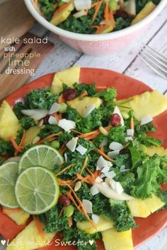 Tropical Kale Salad with Pineapple Honey Lime Dressing - A refreshing ...