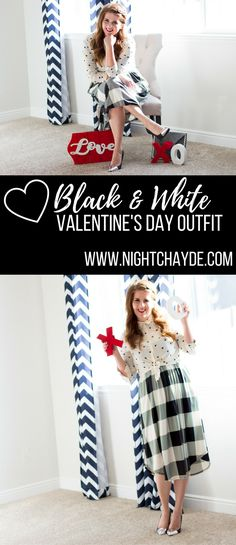 Black and White Valentines Day Outfit. Pattern mixing at its finest this cute black and white outfit is chic and perfect for Valentine's Day.
