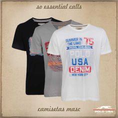 Camiseta Estampada Polo USA Jeans Brands, Denim, Fashion, Manish, Block Prints, Clothes, Moda, Fasion, Jeans
