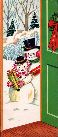 Snowlady and Snowman arrive bearing gifts... (vintage Christmas card, snowfolk)