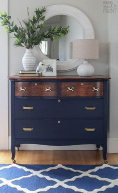 Dresser Makeover in Navy and Brass - Wohnen - Furniture Refurbished Furniture, Repurposed Furniture, Vintage Furniture, Rustic Furniture, Modern Furniture, Outdoor Furniture, Furniture Refinishing, Navy Blue Furniture, Upcycled Furniture Before And After