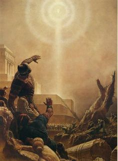 Jesus Christ Appears Unto the Nephite People after his resurrection .  The Savior established his church and taught the people his gospel. For two hundred years they lived in righteousness. They then started to fall into unbelief and finally destroyed their nation in war. - Arnold Friberg