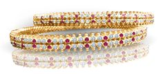 Ruby and Diamond studded twin gold bangles, perfect traditional Indian gold bangles