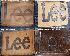 different LEE patches of jeans in our collection Vintage Tags, Vintage Labels, Vintage Denim, Vintage Leather, Retro Vintage, Vintage Style, Lee Denim, Lee Jeans, Levis