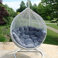 Garden Furniture Patio White Swing Seat Hammock Cocoon by Miloo Grey cushion Egg Swing Chair, Swing Seat, Swinging Chair, Garden Swing Chair, Pod Chair, Ikea Chair, Black Dining Room Chairs, Wicker Chairs, Chair Cushions