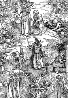 Hans Schäufelein, Witches and warlocks engaging in various rituals, while others are being burnt, 1511
