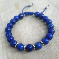Lapis Bracelet • Unisex Bracelet  •24K Gold  Plated • Mens Bracelet • Womens Bracelet • Gemstone Bracelet • Blue Bracelet Bracelets For Men, Fashion Bracelets, Fashion Jewelry, Beaded Bracelets, Handmade Jewelry, Unique Jewelry, Couple Gifts, Gemstone Beads, Gifts For Him