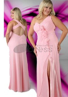 Plus Size Prom Dresses / V Neck Sweetheart Long Pink Plus Size Prom Dresses / http://www.thdress.com/V-Neck-Sweetheart-Long-Pink-Plus-Size-Prom-Dresses-p775.html