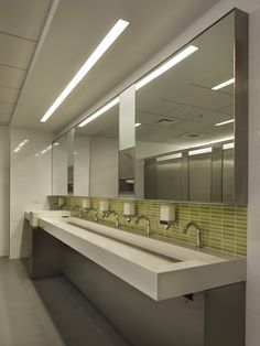 Excellent Large Mirrored With Green Tiles Backspalsh With White Commercial Trough Sink Stainless Taps As Well As Cool Ceiling Bathroom Lighting Design Ideas
