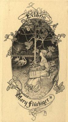 Ex libris by Alexandre de Riquer for Mary Flückiger, 1904