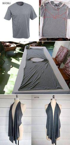 Tshirt DIY super easy-no sew Sewing Hacks, Sewing Crafts, Sewing Projects, Sewing Diy, Sewing Tutorials, Sewing Ideas, Art Projects, Diy Crafts, Old Clothes