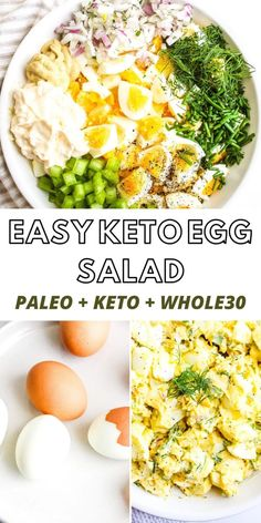 Easy Keto Egg Salad - Best Egg Salad Recipe, Easy Salad Recipes, Avocado Recipes, Healthy Recipes, Keto Egg Salad, Easy Egg Salad, Clean Eating, Healthy Eating, Healthy Lunches