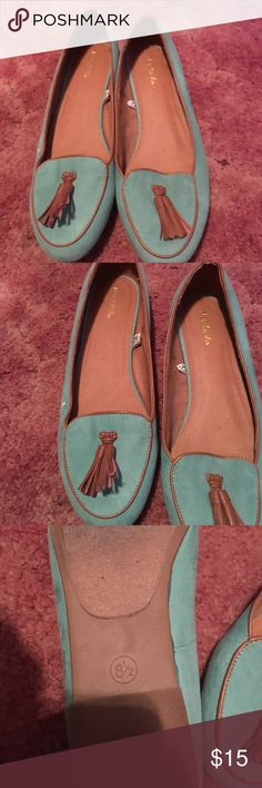 Turquoise Loafers Super cute. Never worn. Brand new. Merona is the brand. Merona Shoes Flats & Loafers