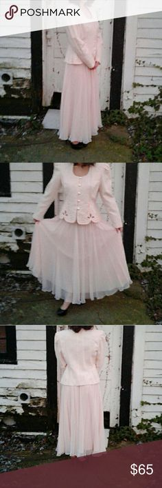 Vintage Blazer And Skirt Suit Around era 1960's vintage chiffon over-lay skirt and button down blazer with shoulder pads. Beautiful cut out design addition to small silver rhinestones. Excellent condition, no flaws. This is kept in a garmet bag for its protection. Skirts Skirt Sets
