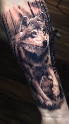 Wolf forest tattoo