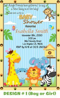 Custom Jungle Friends Baby Shower Card Invitation /Zoo custom Safari Animals
