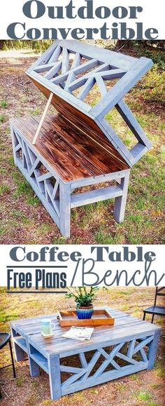 Outdoor Convertible Bench Coffee Table - Woodworking Plans #woodworkingideas