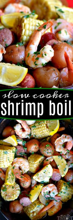This easy Slow Cooker Shrimp Boil is the perfect busy weeknight dinner recipe! Made with just a handful of ingredients and exploding with delicious, fresh flavor, it's sure to become an instant favorite with your family – it certainly was with mine! Crockpot Dishes, Crock Pot Slow Cooker, Crock Pot Cooking, Slow Cooker Recipes, Cooking Recipes, Potatoes Crockpot, Crock Pots, Crockpot Meals, Fish Recipes