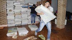 Unas 30 toneladas de billetes venezolanos, de 100 y 50 bolívares, repartidos en 600 bolsas ...