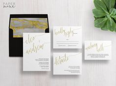 Gold Foil Wedding Invitations | The Cleo Suite by Paper Minx Designs | Faux Gold Foil Wedding Suite