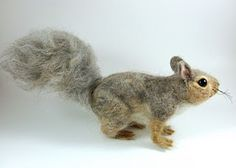 Needle Felted Art by Robin Joy Andreae: Gray Squirrel, Gray Squirrel Swish Your Bushy Tail